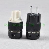 1pair SN01 Audio Schuko Power Plug Male Plug IEC Connector Copper HIFI Black Socket