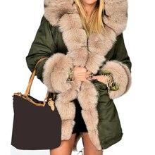 Thick Warm Long Coat Hooded Faux Fur Camouflage Jacket Fur Collar Winter Parkas Women's Jackets Overcoat Outwear Female 5XL Tops