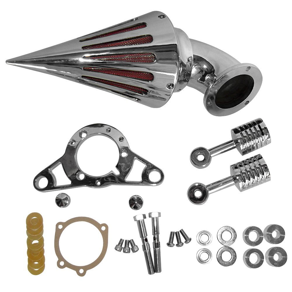 Motorcycle Air Cleaner Kit Intake Filter Assembly For Harley Dyna Softail Touring Fatboy Silver