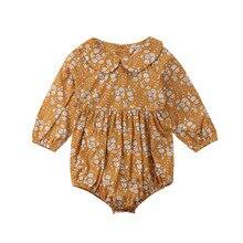 Комбинезон с длинными рукавами и цветочным принтом для новорожденных девочек