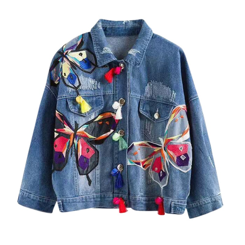 Women Jean Jackets Butterfly Embroidery Slim Fashion Patch Designs Coats Short Casual Tops Hot Elegant Vintage Casacos Feminino