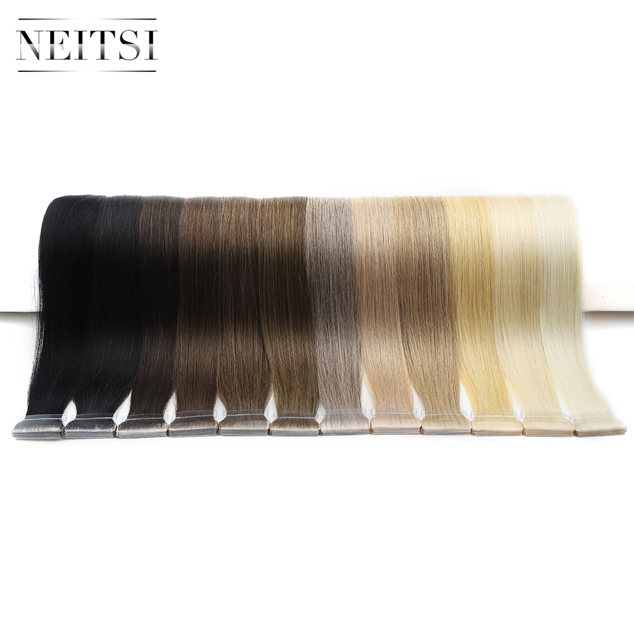 Neitsi Straight PU Skin Weft Hand Tied Tape In Adhesives Remy Human Hair Extensions 16