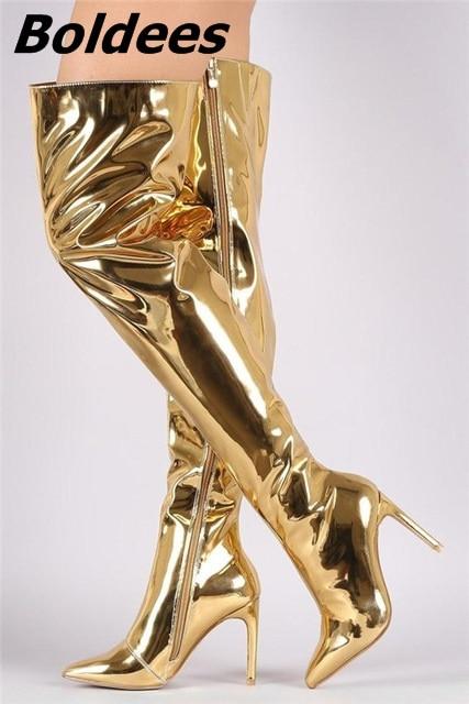 Golden Espejo Zapatos Otoño Punta 2017 Tacón En Atractivo Cuero Muslo Largo Mujer Niñas Alto Moda Botas nEdxxzpT