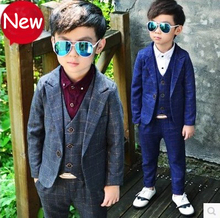 Suit For Boy 3PCS Boys Wedding Costume Boys Formal Vest Blazer Suit Children Spring Clothing Set Boys Suits For Weddings 3-10y 2019 boy blazer suits 3pcs jacket vest pants kids wedding suit flower boys formal tuxedos school suit kids spring clothing set