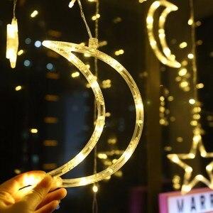 Image 3 - 220V Batterij Fee Ster Led Gordijn String Wedding Lights Garland Holiday Party Bruiloft Decoratie Fairy Led Vakantie