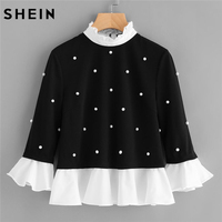 SHEIN Contrast Frill Trim Pearl Embellished Top 2018 Woman Fashion Stand Collar Flounce Sleeve Ruffle Top