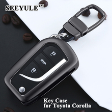 hot deal buy 1pc seeyule aluminum alloy styling car key case shell key cover storage bag protector car accessories only for toyota corolla