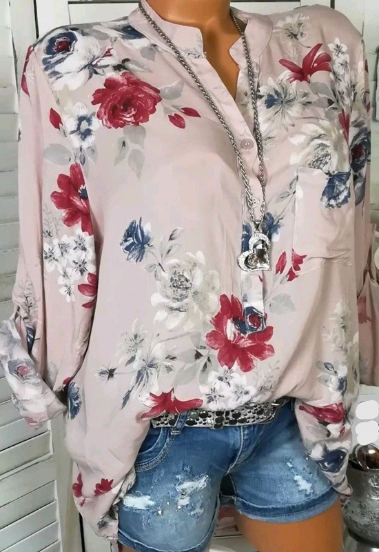 new Comfort Elegance Sleeve V neck Shirts Women Blouse Long Love Casual Classics Cute Sexy Floral Print Plus Size Tops xxl in Blouses amp Shirts from Women 39 s Clothing