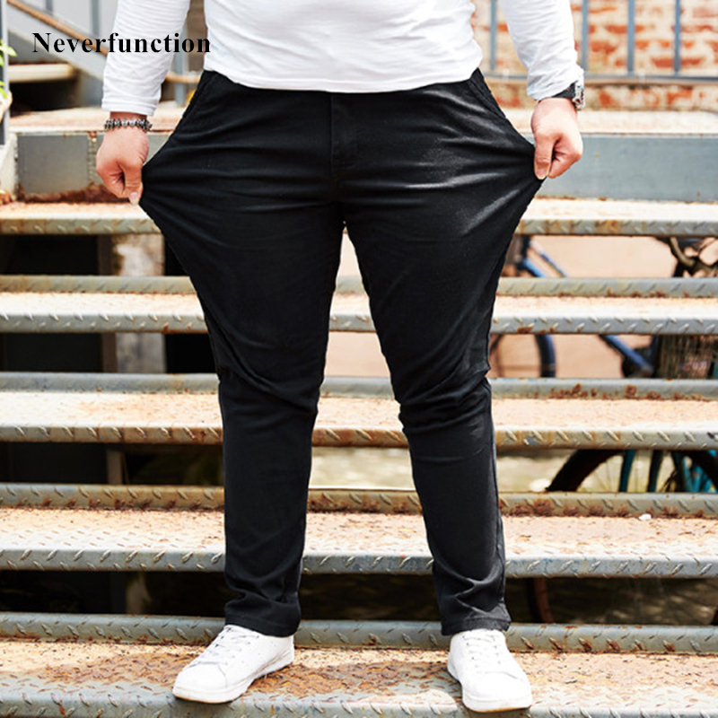 Plus Size 44 46 48 Men Spring autumn Loose Simple black Solid color Casual Pants Brand Clothes Fashion Harajuku male Trousers