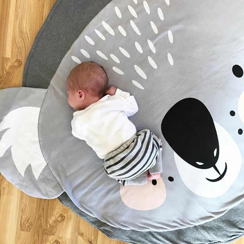 เล่นเสื่อการ์ตูนสัตว์เสื่อเด็กทารกแรกเกิดคลานผ้าห่มฝ้ายรอบพรมพรมพรมสำหรับเด็กห้องเด็ก decor