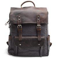 Men Leather Canvas Rucksack Laptop Backpack College School Bookbag Dark Gray