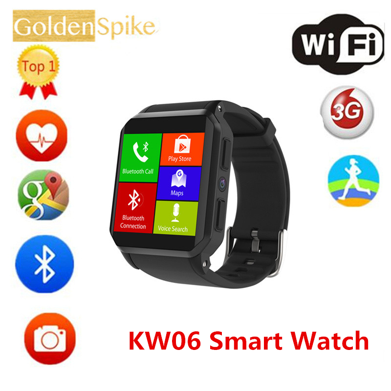 2018 HOT Smart Watch KW06 Android 5.1 OS 512GB Ram 8GB Rom MTK6580 Quad Core 3G GPS WiFi Wristwatch Heart Rate Pedometer PK kw88 3g android smart watch kingwear kw06 pk kw88 wristwatch support sim mtk6580 quad core smartwatch pedometer heart rate wifi gps