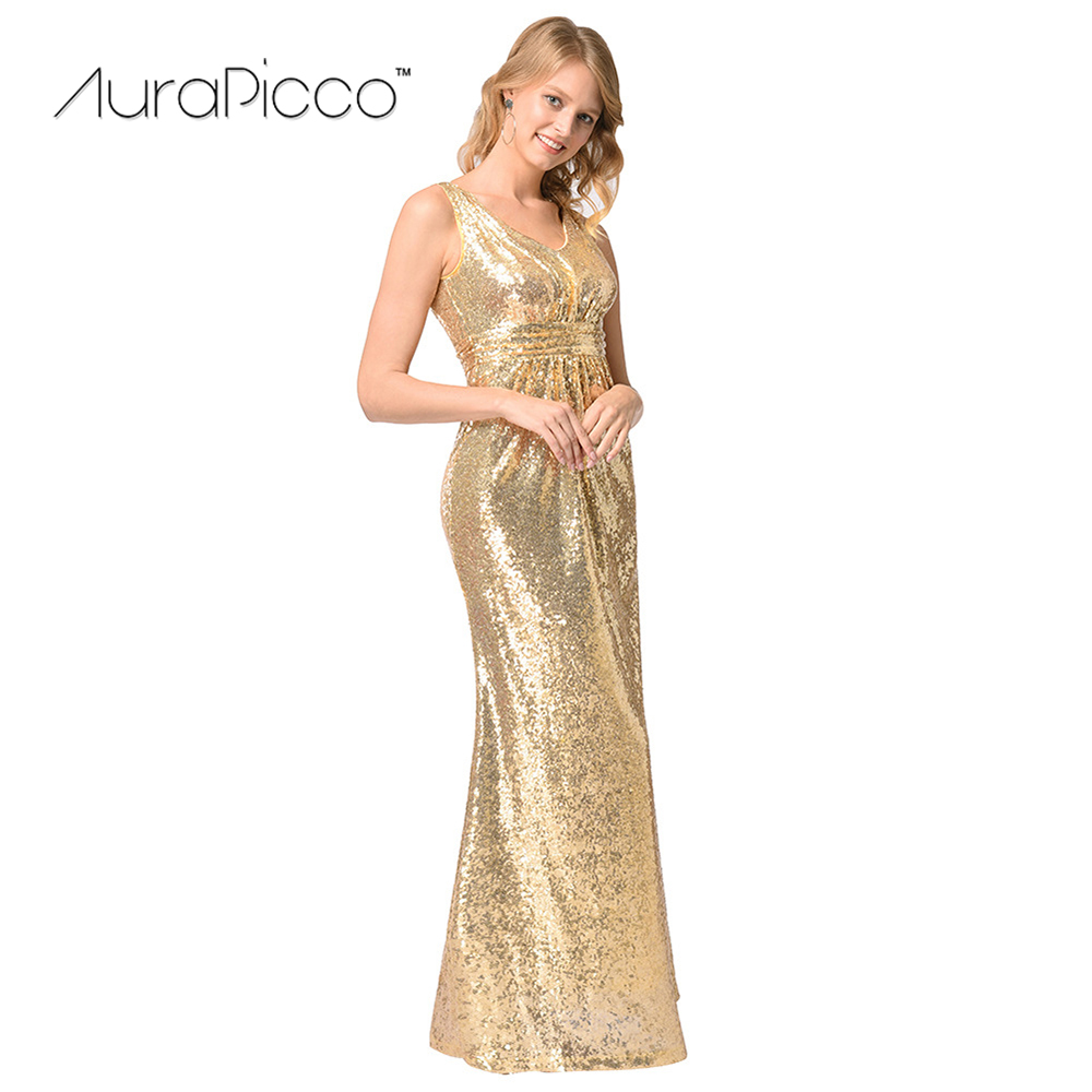Women's Gold Sequins Backless Long Formal Party Dress