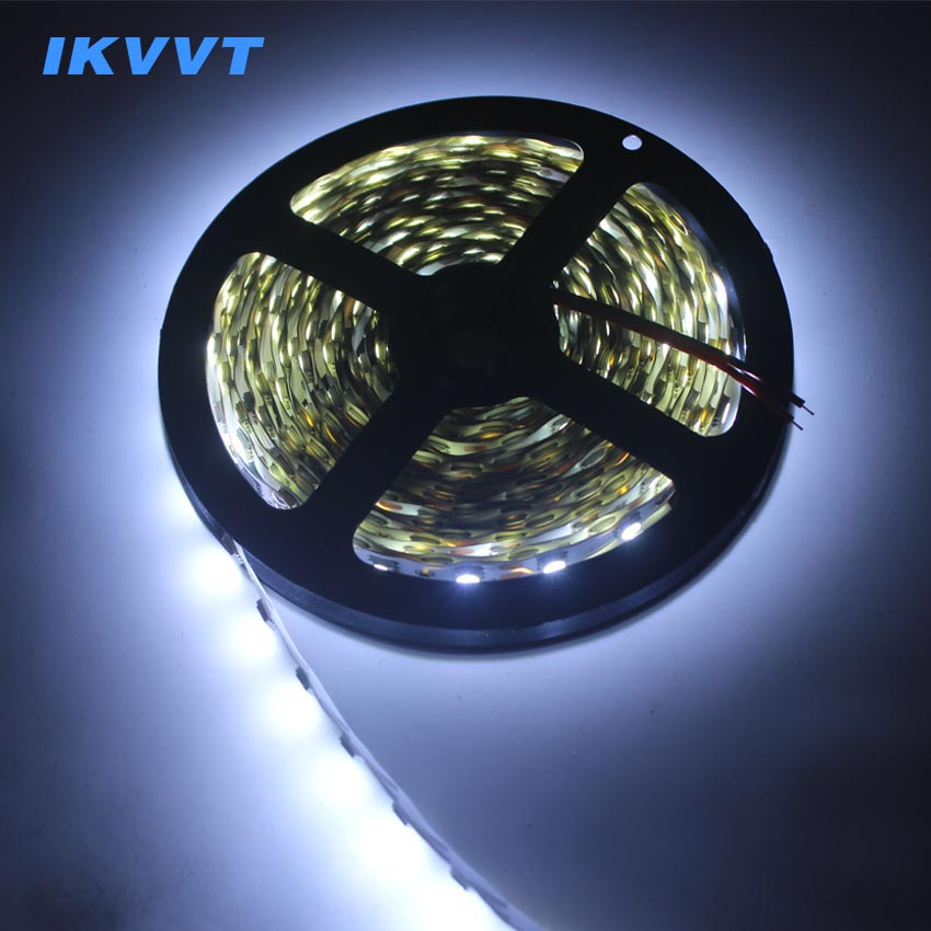 IKVVT 5050 LED Strip Light Warm White Cold White No-waterproof DC 12V Led Ribbon Tape Tire Emitting 60leds/m LED Light Lamp Neon