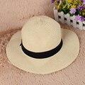 2016 Aba Larga Chapéu de Sol para Mulheres Dos Homens Cap Jazz Panamá disquete praia chapéu chapéu chapéu de feltro chapéu de palha do verão Breve cinto azul DM #6