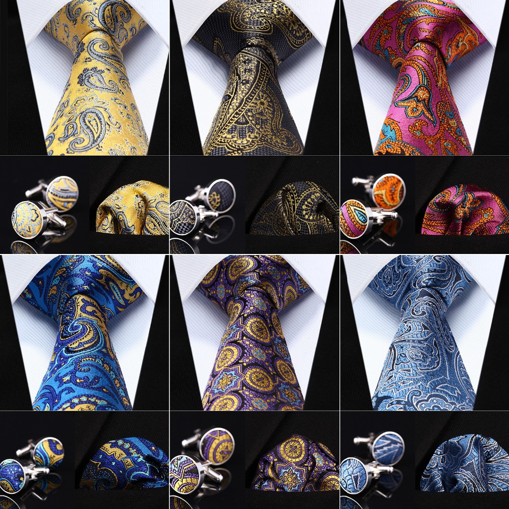 USA Gold Paisley Silk Tie Set Mens Necktie Pocket Square Cufflinks Wedding Party