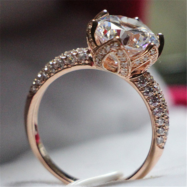 Pure 14Karat Rose Gold Ring 2CT Round Synthetic Diamonds Women