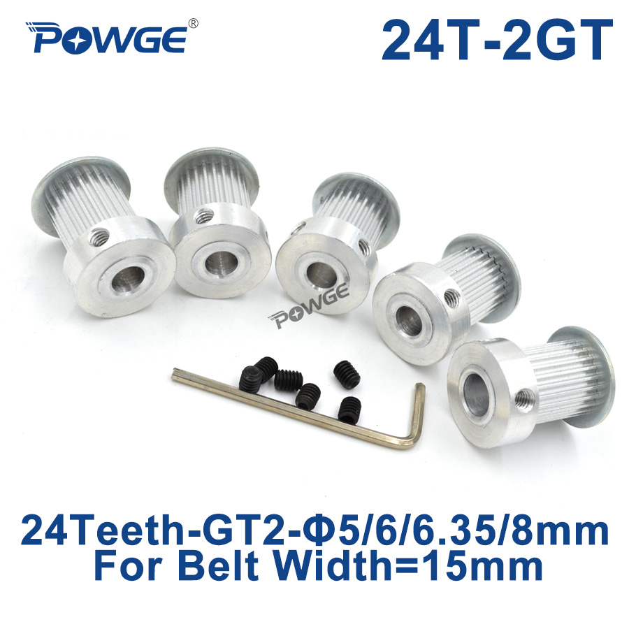 POWGE 24 Teeth 2GT Timing Pulley Bore 5mm 6mm 6.35mm 8mm for width 15mm GT2 Synchronous Belt Small Backlash Gear 24Teeth 24TPOWGE 24 Teeth 2GT Timing Pulley Bore 5mm 6mm 6.35mm 8mm for width 15mm GT2 Synchronous Belt Small Backlash Gear 24Teeth 24T