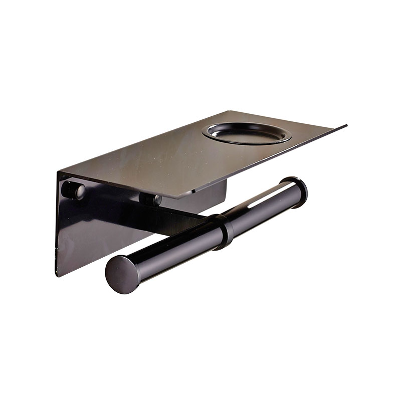 Toilet Paper Box Wall Mounted Bathroom Accessories Set Gold Black Space Aluminum Toilet Paper Holder with Mobile Phone Holder