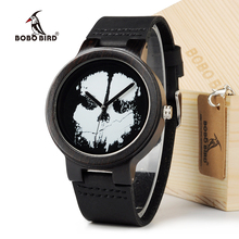 BOBO BIRD D24 Ebony Black Wood Men's Watch With Skeleton Logo Luxury Brand Quartz Watch With Real Leather Strap In Gift Box