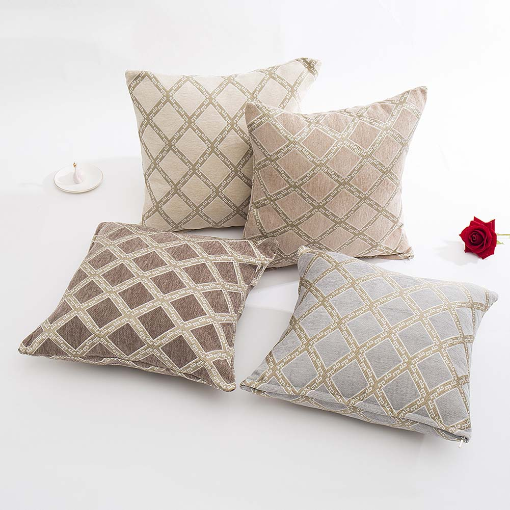 Meijuner Cushion Cover Vintage Chenille Pillowcase Jacquard Grid Cushion Case Plaid Pattern Elegant  Cushion Cover For HomeY388
