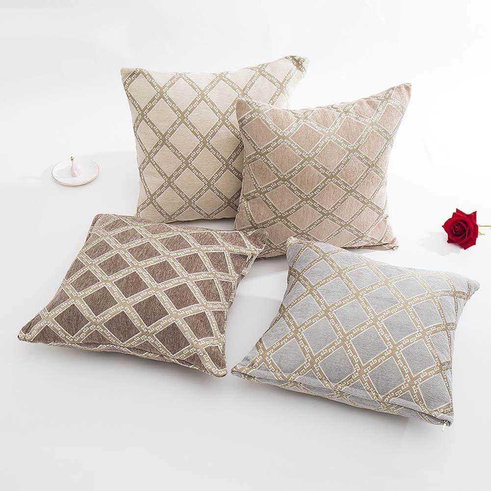 >Meijuner <font><b>Cushion</b></font> <font><b>Cover</b></font> Vintage Chenille Pillowcase Jacquard Grid <font><b>Cushion</b></font> Case Plaid Pattern Elegant <font><b>Cushion</b></font> <font><b>Cover</b></font> For HomeY388