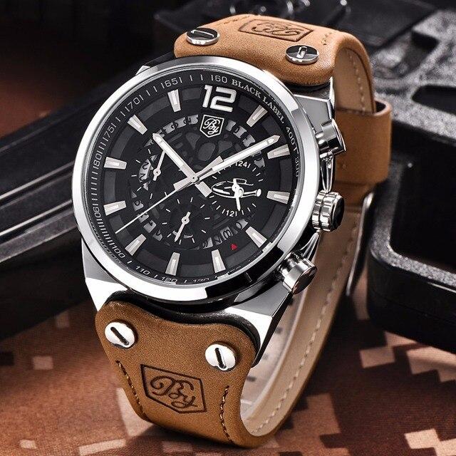 fa59f2657bc2 BENYAR Cronógrafo Marca de Lujo Del Deporte Para Hombre Relojes Militares  Moda de Cuero Resistente Al Agua Reloj de Cuarzo Reloj de Los Hombres  Relogio ...