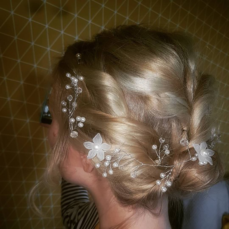 Wedding Hair Vine Bridal Crystal Pearl Headband Vintage Hair Accessories 35cm