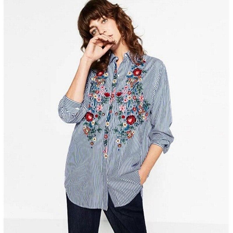 Ladies blue and white striped shirt custom shirt for White floral shirt womens