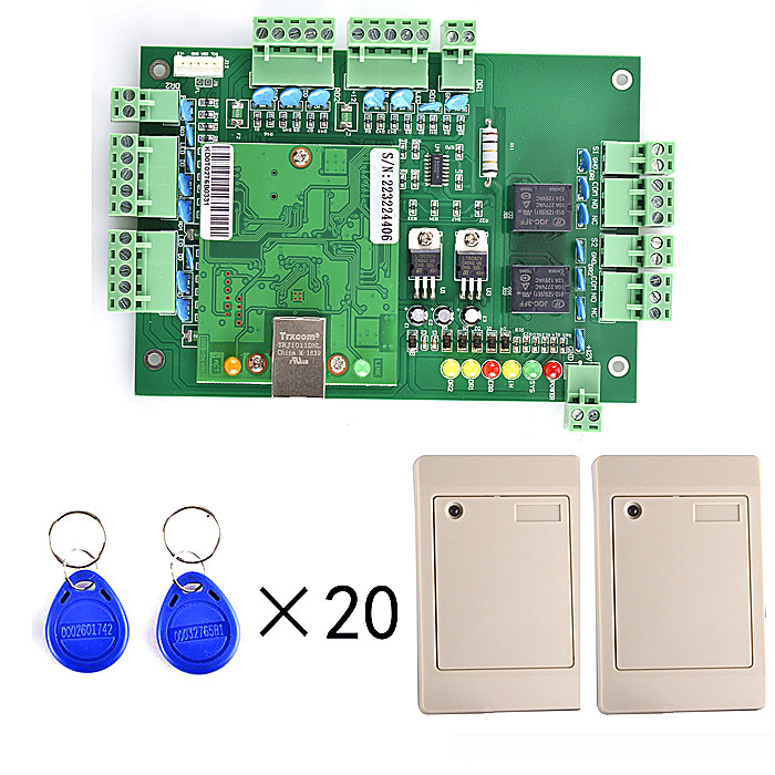 TCPIP Two Door Access Control Systems+2 Pieces Card Reader+20pcs RFID Card+English Software+Free Shiping outdoor mf 13 56mhz weigand 26 door access control rfid card reader with two led lights