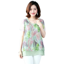 2018 fashion short sleeve shirt women plus size M-4XL o-neck print flower female chiffon blouse fake two piece casual ladies top plus flower print flutter sleeve top