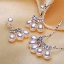 Women Gift word 925 Sterling silver real [bright pearl] natural freshwater pearls, dripping pearl earrings, pendants, 925 silver
