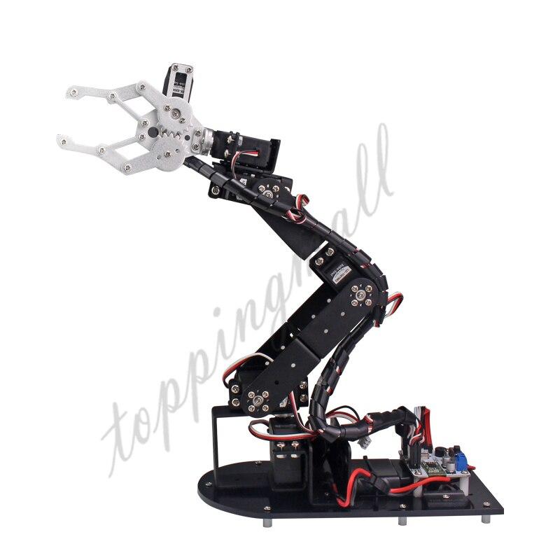 Arduino Robot 6 DOF Aluminium Clamp Claw Mount Kit Mechanical Robotic Arm & 6pcs Servos & Metal Servo Horn-Silver  цена и фото