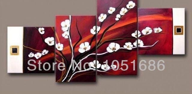 4pc handmade abstract art modern white flowers oil painting on 4pc handmade abstract art modern white flowers oil painting on burgundy canvas wall art pictures decor mightylinksfo