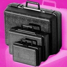 Caja de Herramientas de plástico caja de herramientas de Hardware kit de La maleta El instrumento instrumento equipo de caja Grande negro Súper buena preferencial