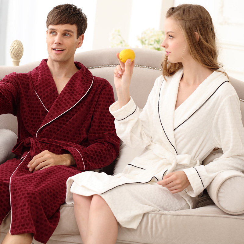 2018 Thickening Towel Cotton Bathrobe Winter Robe Lovers Waste-absorbing Sleepwear Autumn And Winter Lacing Lounge
