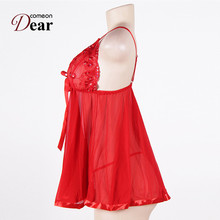 Comeondear Sexy Lingerie Soft Lace Women Babydoll EK2073 Solid Sexy Including Dress And G String Plus Size Lingerie For Women