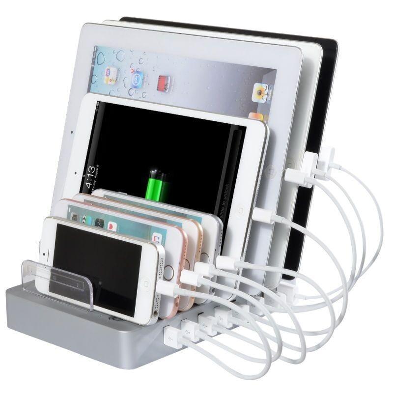 VOXLINK 8 יציאות USB שולחן העבודה Multi-פונקצית טעינה מתחנת העגינה עם מעמד עבור מחשב לוח נייד טלפון מחשב שחור לבן