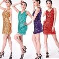 6 Mujeres de Los Colores Moderno Nuevo de Lentejuelas de Baile Vestido de Fiesta de Disfraces de Rendimiento de Desgaste Adulto danza Jazz Ropa Customes