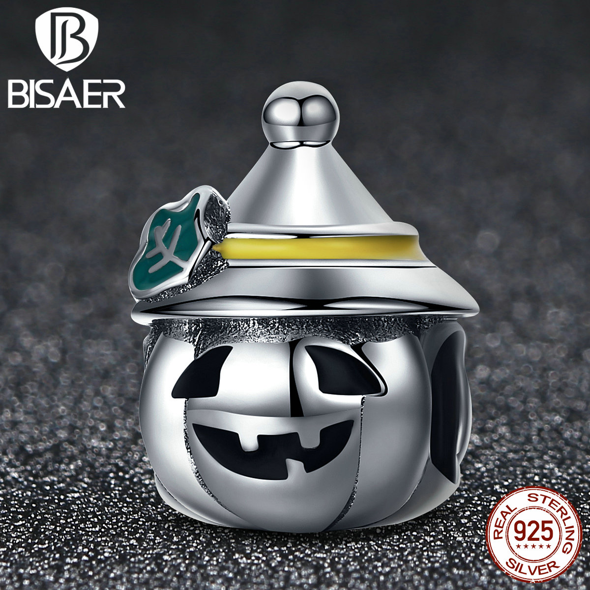 BISAER Authentic 925 Sterling Silver Happy Halloween Memory Beads Fit Pandora Charms Bracelets DIY Accessories Gift HSC164