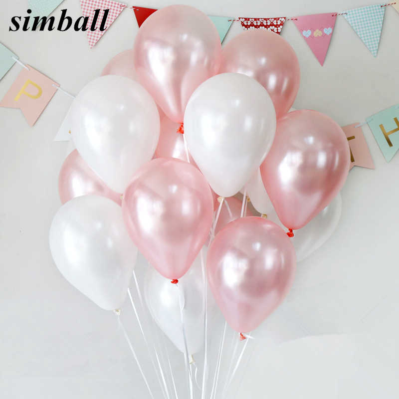 30pcs Pink Pearl 10 inch Latex Helium Balloons Inflatable Wedding Decorations Air Balls Happy Birthday Party Balloons Supplies