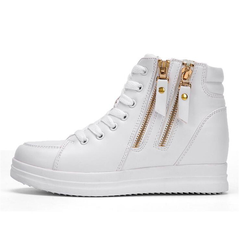 Haut White Zipper Occasionnels Femmes black Hauteur Automne Chaussures Nouvelle dessus 2018 Confortable Mode En Cuir Croissante xP6TqX6