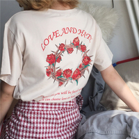 YouGeMan Spring Summer Womens Clothing Korean Style Ulzzang Harajuku Letter Print Rose Floral Short Sleeve T