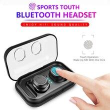 TWS Bluetooth наушники беспроводные Bluetooth 5,0 наушники Спорт стерео наушники бас гарнитура с двойным микрофоном для Iphone Android