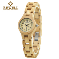 BEWELL Slim Women Bracelet Watch Wood Watch Woman Watches 2017 Brand Luxury Quartz Ladies Watch Digital Relogio Feminino 123A