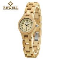 BEWELL Wood Watch Quartz Wristwatch Women Top Brand Luxury Small Round Dial Sandalwood Relogio Feminino Girl