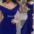 Azul real 2017 Vestidos de Noche de La Sirena Cuello En V Profundo Cap Mangas Backless Atractivo del Satén Largo Vestidos de Baile Vestido de Noche Vestido de Fiesta