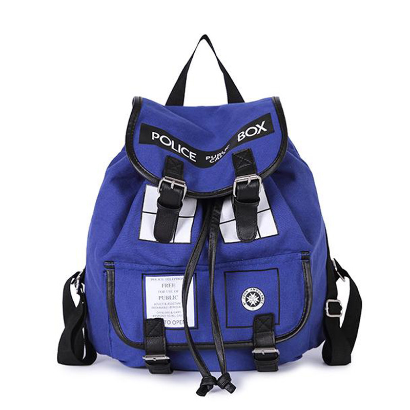 Dr. Who Tardis Backpack women Buckle Slouch Doctor Who Tardis bag women backpack School bags for teenagers children kids