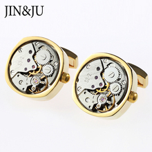 JIN&JU Watch Movement Cufflinks Of Immovable Move Steampunk Gear Watch Mechanism Cufflinks For Men Jewelry
