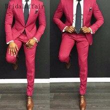 Bridalaffair, портной, ярко-розовый, мужские костюмы, повседневный костюм, мужской, приталенный, на заказ, свадебный смокинг для жениха, блейзер(пиджак+ брюки), 2 штуки